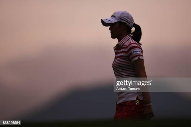 Shinobu Moromizato of Japan looks on during the first round of the Nitori Ladies 2017 at the Otaru Country Club on August 24 2017 in Otaru Hokkaido...