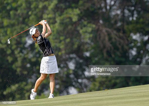 Shinobu Moromizato of Japan plays a shot on the 15th hole during the first round of the 2010 US Women's Open at Oakmont Country Club on July 8 2010...
