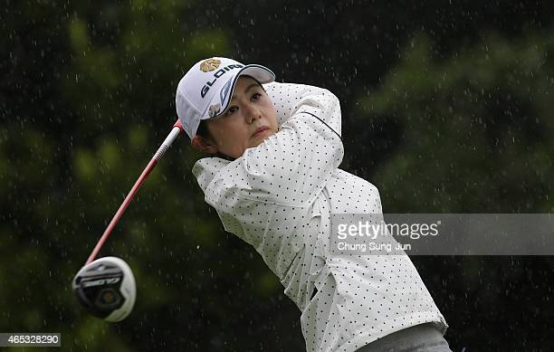 Shinobu Moromizato of Japan plays a tee shot during the first round of the Daikin Orchid Ladies Golf Tournament at the Ryukyu Golf Club on March 6...