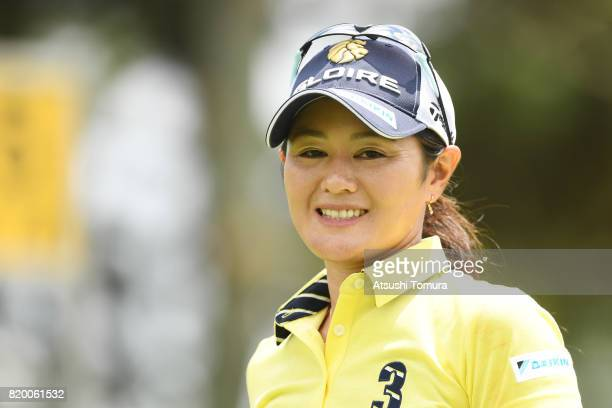 Shinobu Moromizato of Japan smiles during the first round of the Century 21 Ladies Golf Tournament 2017 at the Seta Golf Course on July 21 2017 in...