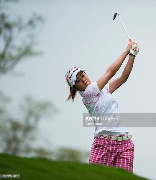 Shinobu Moromizato of Japan tees off on the 12th hole during day one of the 2013 Honda LPGA Thailand at Siam Country Club on February 21 2013 in Chon...