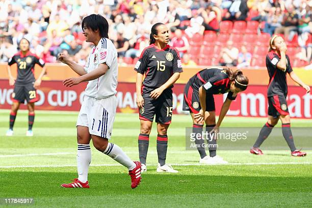 Shinobu Ohno of Japan celebrates her team's second goal during the FIFA Women's World Cup 2011 Group B match between Japan and Mexico at the Fifa...