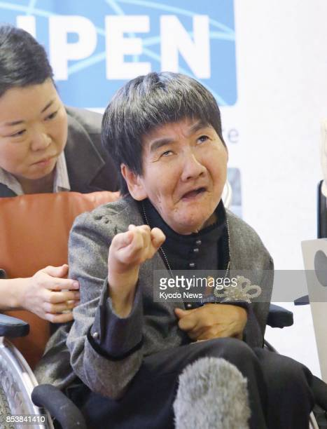 Shinobu Sakamoto a Minamata mercurypoisoning disease patient attends a press conference organized by a group of nongovernmental organizations in...