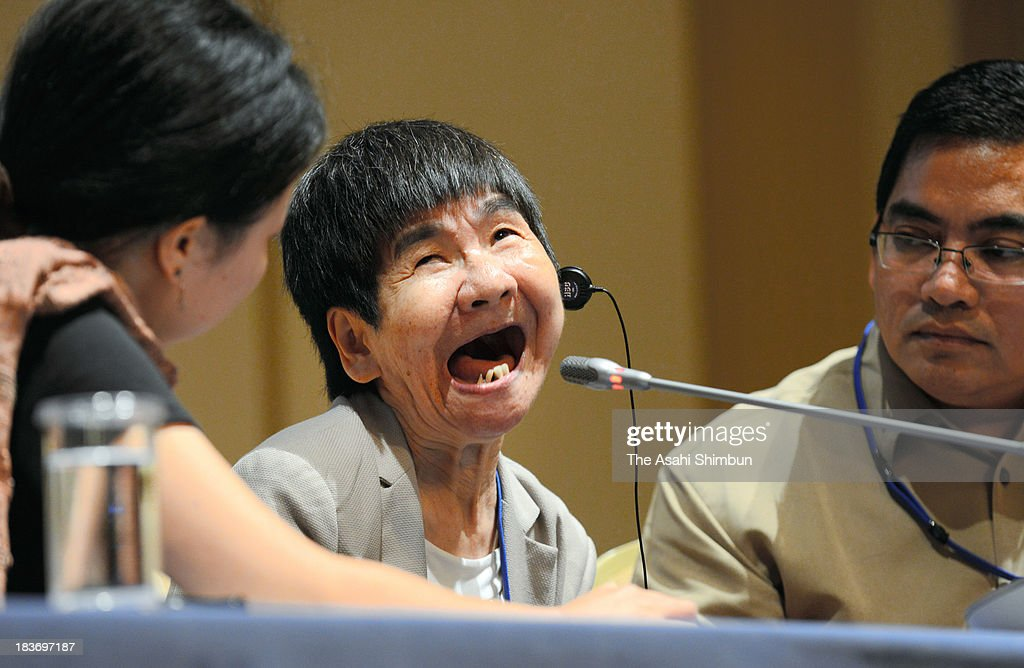 Shinobu Sakamoto, a sufferer of fetal Minamata disease, speaks at a news conference ahead of the U.N. Conference of Plenipotentiaries on the Minamata Convention on Mercury on October 8, 2013 in Kumamoto, Japan. The 57-year-old developed congenital Minamata disease when she was in her mother's womb. Her mother, Fujie, consumed tainted seafood from Minamata Bay, where a factory of chemical company Chisso Corp. discharged wastewater containing methyl mercury. The conference, organized by the United Nations Environment Program (UNEP), runs from October 9 to 11 in Kumamoto and Minamata. Representatives from about 140 nations are attending.