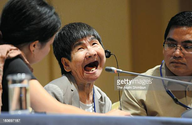 Shinobu Sakamoto a sufferer of fetal Minamata disease speaks at a news conference ahead of the UN Conference of Plenipotentiaries on the Minamata...