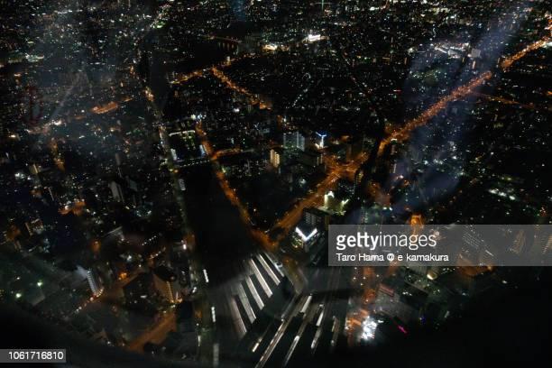jr shin-osaka station in osaka city in japan night time aerial view from airplane - sloppy joe, jr stockfoto's en -beelden