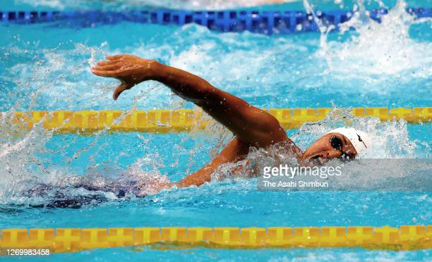 Shinri Shioura competes in the Men's 100m Freestyle on day three of the Tokyo Special Swimming Championships at the Tokyo Tatsumi International...
