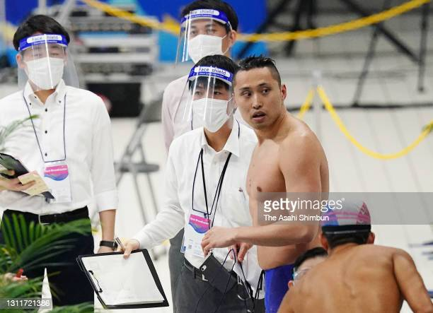 Shinri Shioura reacts after competing in the Men's 50m Freestyle heat on day seven of the 97th Japan Swimming Championships at the Tokyo Aquatics...