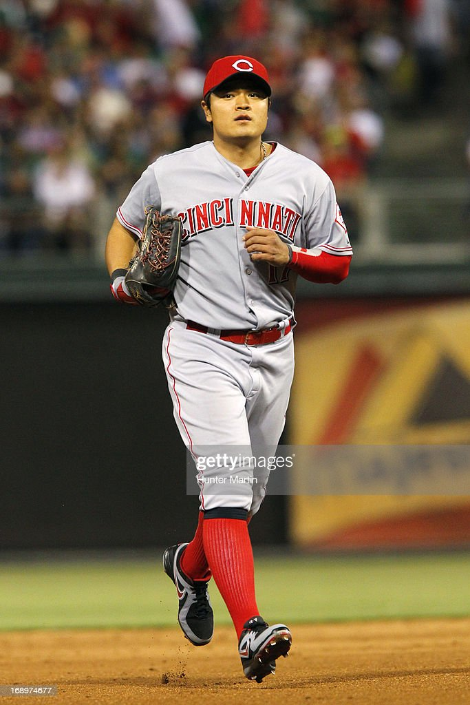 Shin-Soo Choo #17 of the Cincinnati Reds jogs to the dugout during a game against the Philadelphia Phillies at Citizens Bank Park on May 17, 2013 in Philadelphia, Pennsylvania. The Phillies won 5-3.