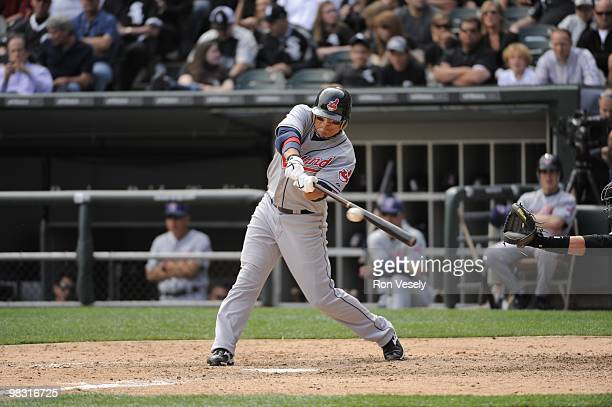 ShinSoo Choo of the Cleveland Indians bats against the Chicago White Sox on April 5 2010 at US Cellular Field in Chicago Illinois The White Sox...