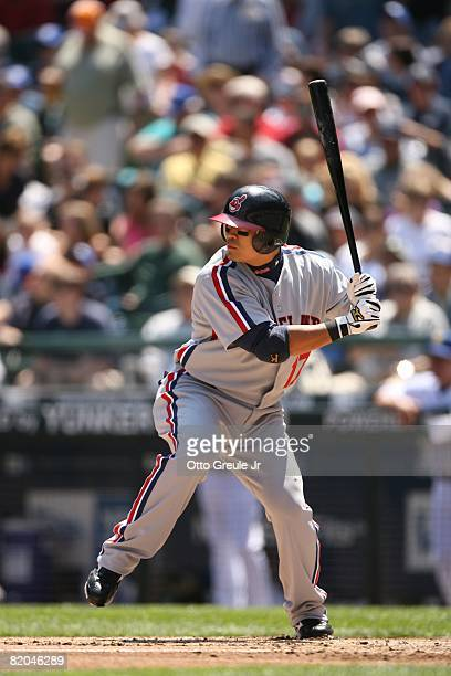 Shin-Soo Choo of the Cleveland Indians bats against the Seattle Mariners on July 19, 2008 at Safeco Field in Seattle, Washington.
