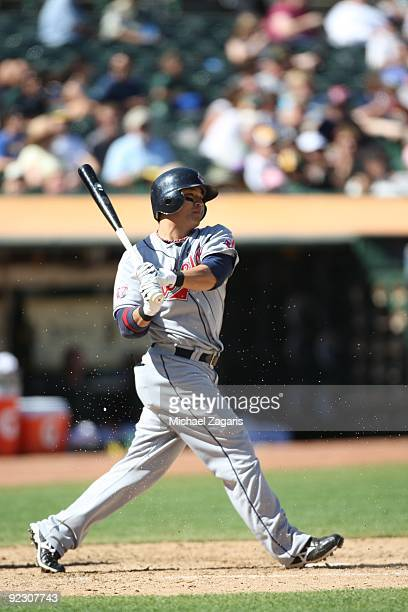 ShinSoo Choo of the Cleveland Indians bats during the game against the Oakland Athletics at the Oakland Coliseum on September 19 2009 in Oakland...