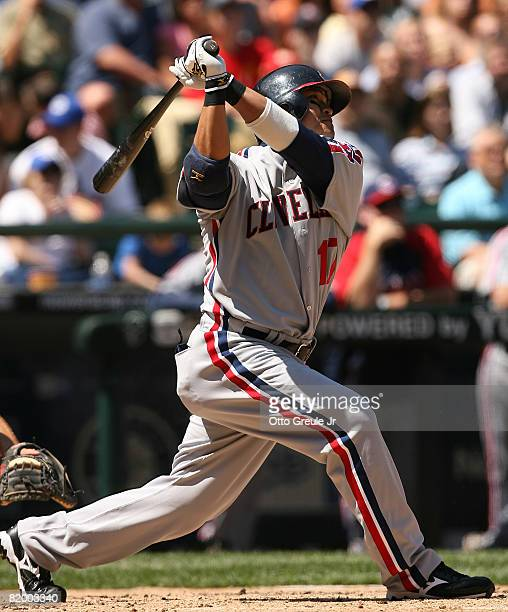 Shinsoo Choo of the Cleveland Indians hits an RBI double in the third inning against the Seattle Mariners on July 19 2008 at Safeco Field in Seattle...
