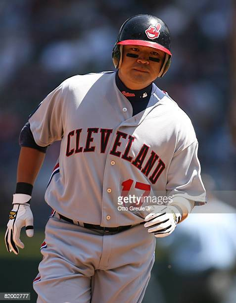 Shinsoo Choo of the Cleveland Indians rounds the bases after hitting a tworun home run in the first inning against the Seattle Mariners on July 19...