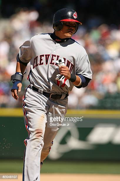 Shin-Soo Choo of the Cleveland Indians runs the bases against the Seattle Mariners on July 19, 2008 at Safeco Field in Seattle, Washington.