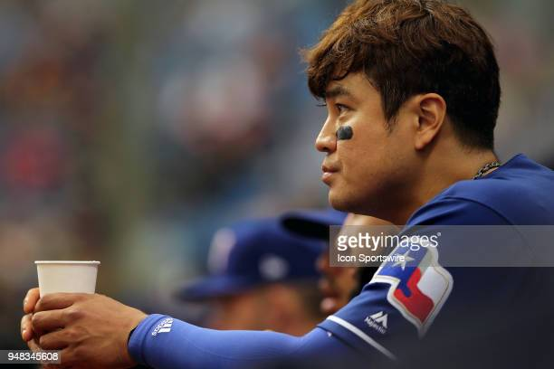 ShinSoo Choo of the Rangers watches the action on the field during the MLB regular season game between the Texas Rangers and the Tampa Bay Rays on...