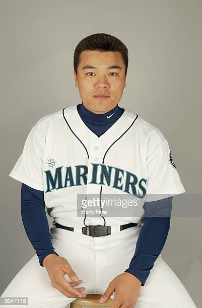 ShinSoo Choo of the Seattle Mariners poses for a portrait during the 2004 MLB Spring Training Photo Day at Peoria Stadium on February 27 2004 in...