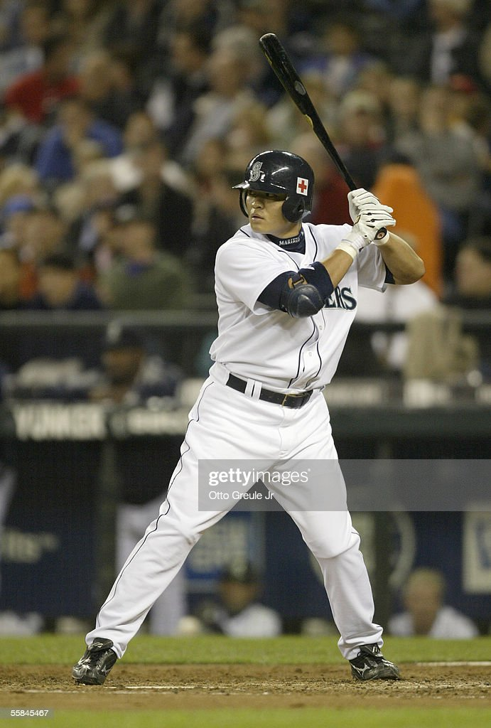Shin-Soo Choo #54 of the Seattle Mariners stands ready at bat during the game against the Texas Rangers on September 28 2005 at Safeco Field in Seattle Washington. The Rangers won 7-3.