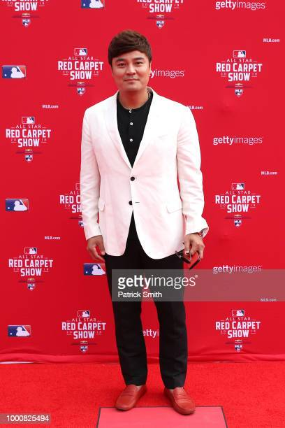 ShinSoo Choo of the Texas Rangers and the American League attends the 89th MLB AllStar Game presented by MasterCard red carpet at Nationals Park on...