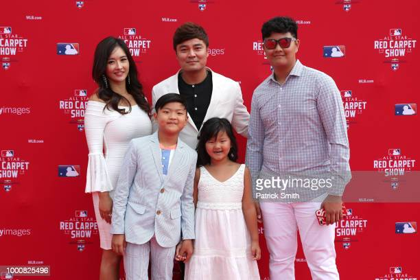 ShinSoo Choo of the Texas Rangers and the American League attends the 89th MLB AllStar Game presented by MasterCard red carpet with guests at...