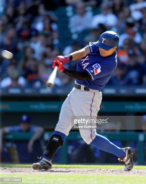 ShinSoo Choo of the Texas Rangers bats against the Detroit Tigers at Comerica Park on July 7 2018 in Detroit Michigan