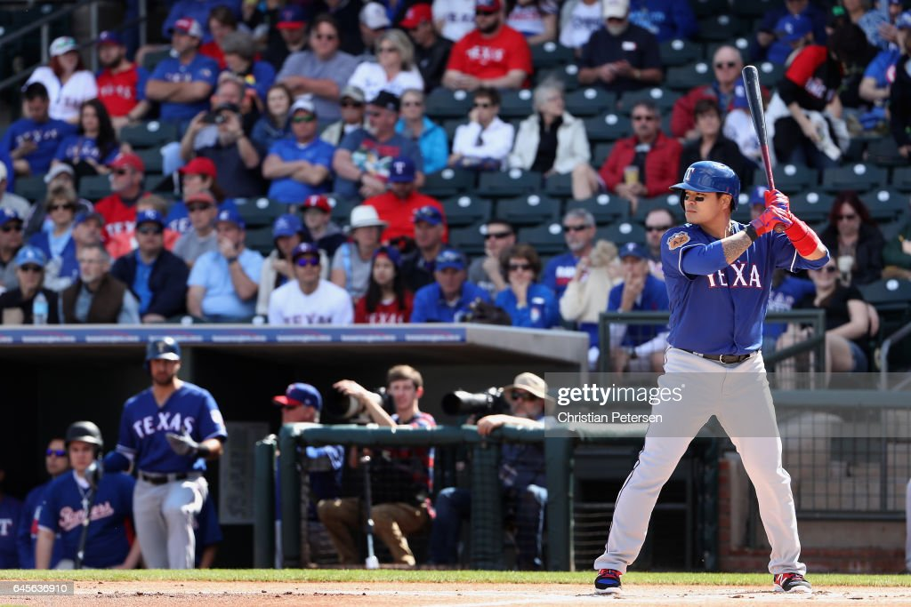 Shin-Soo Choo #17 of the Texas Rangers bats against the Kansas City Royals during the first inning of the spring training game at Surprise Stadium on February 26, 2017 in Surprise, Arizona.