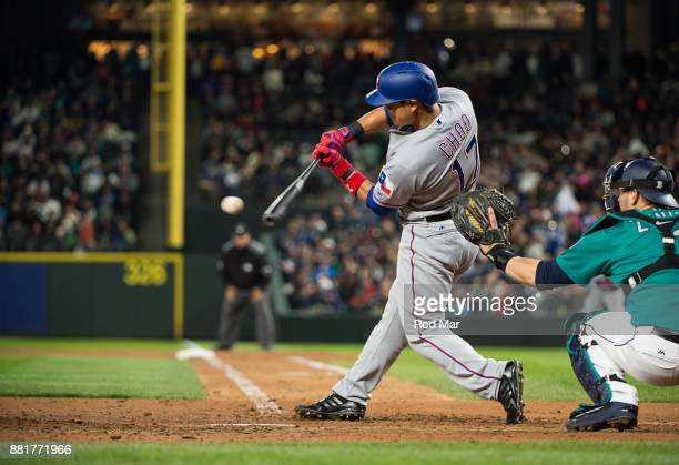 ShinSoo Choo of the Texas Rangers bats during the game against the Seattle Mariners at Safeco Field on Friday April 14 2017 in Seattle Washington