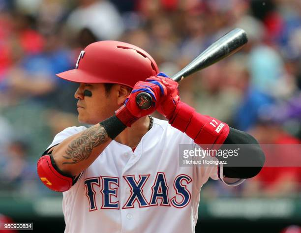 ShinSoo Choo of the Texas Rangers bats in the eighth inning against the Seattle Mariners at Globe Life Park in Arlington on April 22 2018 in...