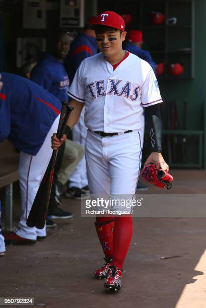 ShinSoo Choo of the Texas Rangers enster the dugout before the game against the Seattle Mariners at Globe Life Park in Arlington on April 22 2018 in...