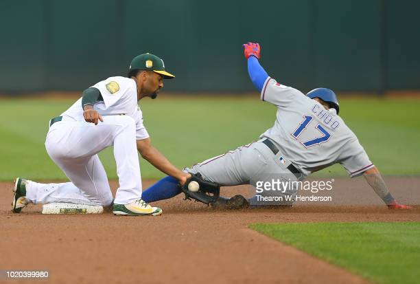 Khris Davis of the Oakland Athletics bats with the back of his jersey signed by Anthony Slocumb a MakeAWish Child prior the game against the Texas...