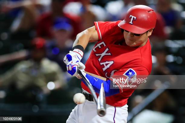 ShinSoo Choo of the Texas Rangers hits a broken bat ground out against the Los Angeles Dodgers in the bottom of the ninth inning at Globe Life Park...