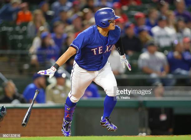 ShinSoo Choo of the Texas Rangers hits a double in the sixth inning against the Seattle Mariners at Globe Life Park in Arlington on April 20 2018 in...