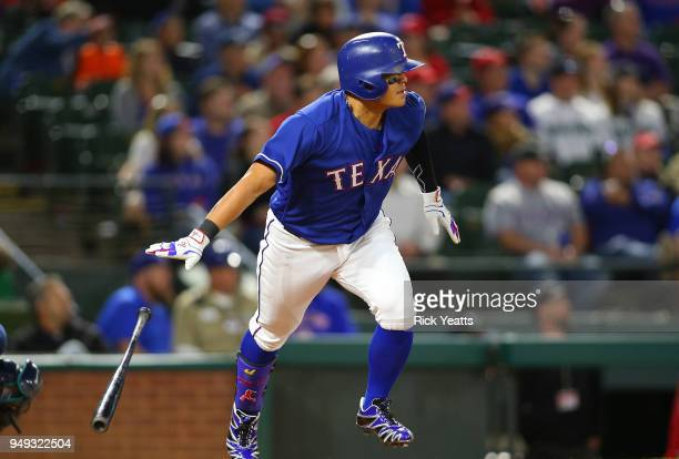 ShinSoo Choo of the Texas Rangers hits double in the sixth inning against the Seattle Mariners at Globe Life Park in Arlington on April 20 2018 in...