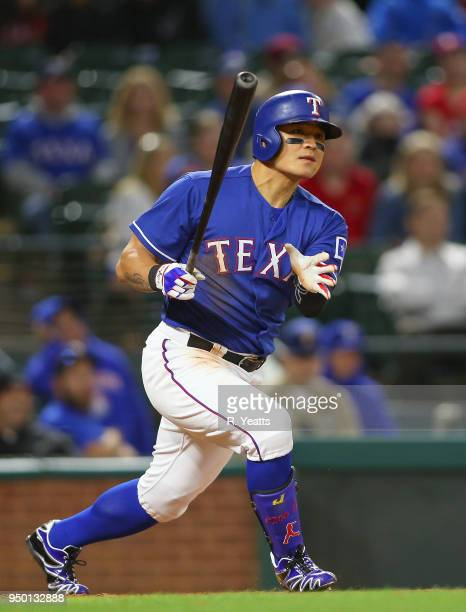 ShinSoo Choo of the Texas Rangers hits in the eight inning against the Seattle Mariners at Globe Life Park in Arlington on April 20 2018 in Arlington...