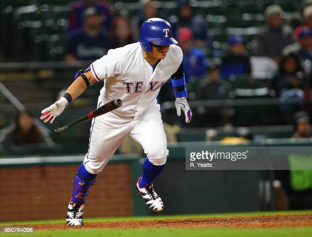 ShinSoo Choo of the Texas Rangers hits in the eight inning against the Seattle Mariners at Globe Life Park in Arlington on April 21 2018 in Arlington...