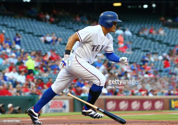 ShinSoo Choo of the Texas Rangers warms up in the seventh inning against the Texas Rangers at Globe Life Park in Arlington on August 17 2018 in...