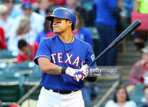 ShinSoo Choo of the Texas Rangers hits in the first inning against the Seattle Mariners at Globe Life Park in Arlington on April 20 2018 in Arlington...