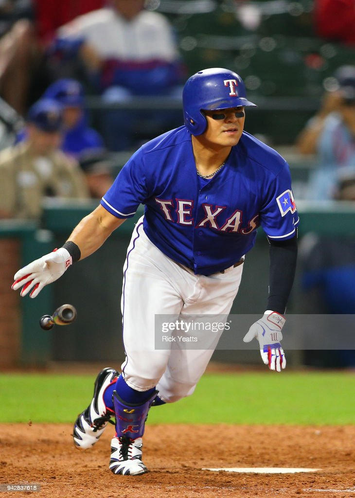 Shin-Soo Choo #17 of the Texas Rangers hits in the ninth inning against the Toronto Blue Jaysat Globe Life Park in Arlington on April 6, 2018 in Arlington, Texas.