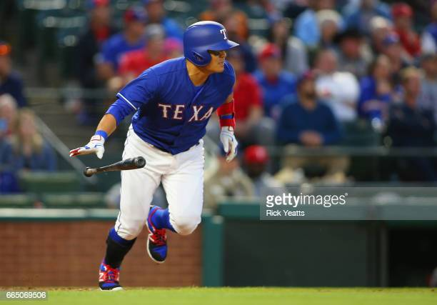 ShinSoo Choo of the Texas Rangers hits in the third inning against the Cleveland Indians at Globe Life Park in Arlington on April 5 2017 in Arlington...
