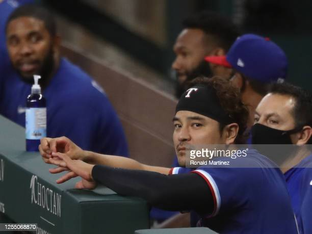 ShinSoo Choo of the Texas Rangers in a intrasquad game during Major League Baseball summer workouts at Globe Life Field on July 07 2020 in Arlington...