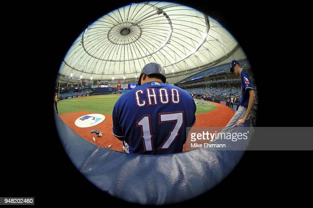 ShinSoo Choo of the Texas Rangers looks on during a game against the Tampa Bay Rays at Tropicana Field on April 18 2018 in St Petersburg Florida