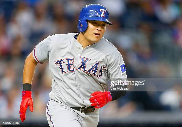 ShinSoo Choo of the Texas Rangers runs out a thirdinning double against the New York Yankees at Yankee Stadium on June 27 2016 in the Bronx borough...
