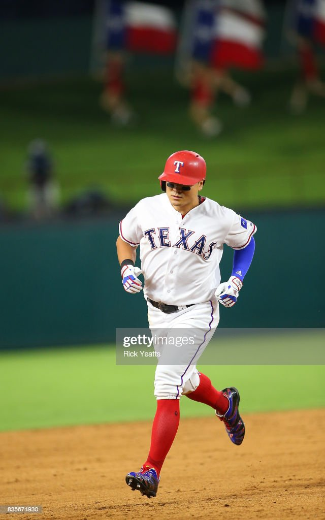 Shin-Soo Choo #17 of the Texas Rangers runs the bases after hitting a three run home run in the sixth inning against the Chicago White Sox at Globe Life Park in Arlington on August 19, 2017 in Arlington, Texas.