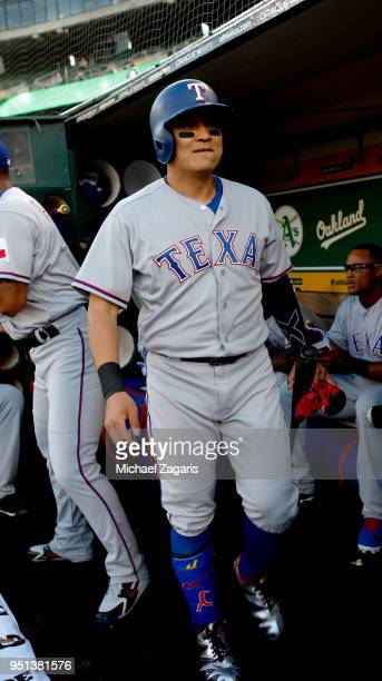 ShinSoo Choo of the Texas Rangers stands in the dugout prior to the game against the Oakland Athletics at the Oakland Alameda Coliseum on April 2...