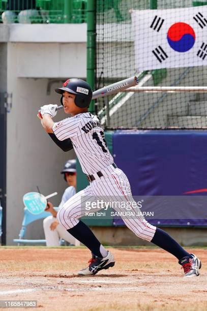 Shinsuke Kuwamoto of SAMURAI JAPAN bats in the fifth inning during the WBSC U-12 Baseball World Cup Super Round match between South Korea and Japan...