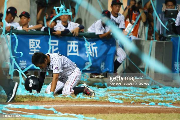 Shinsuke Kuwamoto of SAMURAI JAPAN looks dejected after the WBSC U-12 Baseball World Cup final between Japan and Chinese taipei at ASPAC Youth on...