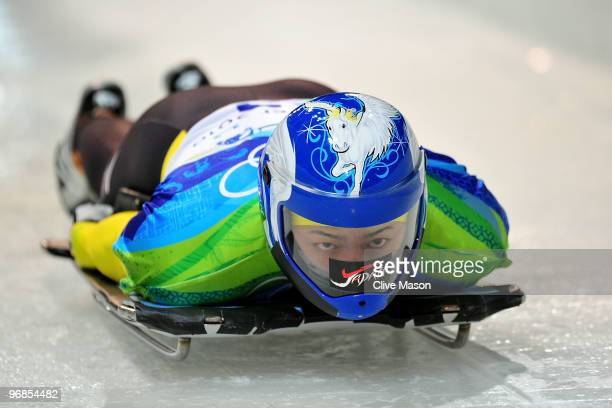 Shinsuke Tayama of Japan competes in the men's skeleton run 1 on day 7 of the 2010 Vancouver Winter Olympics at The Whistler Sliding Centre on...