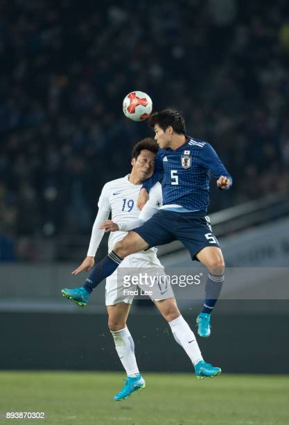 Shintaro ££5 of Japan and Yeom kihun of South Korea in action during the EAFF E1 Men's Football Championship between Japan and South Korea at...