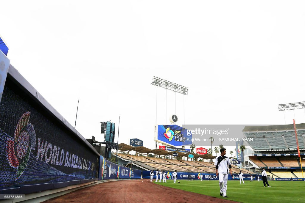 Shintaro Fujinami #17 of Japan in action during a training session ahead of the World Baseball Classic Championship Round at Dodger Stadium on March 20, 2017 in Los Angeles, California.