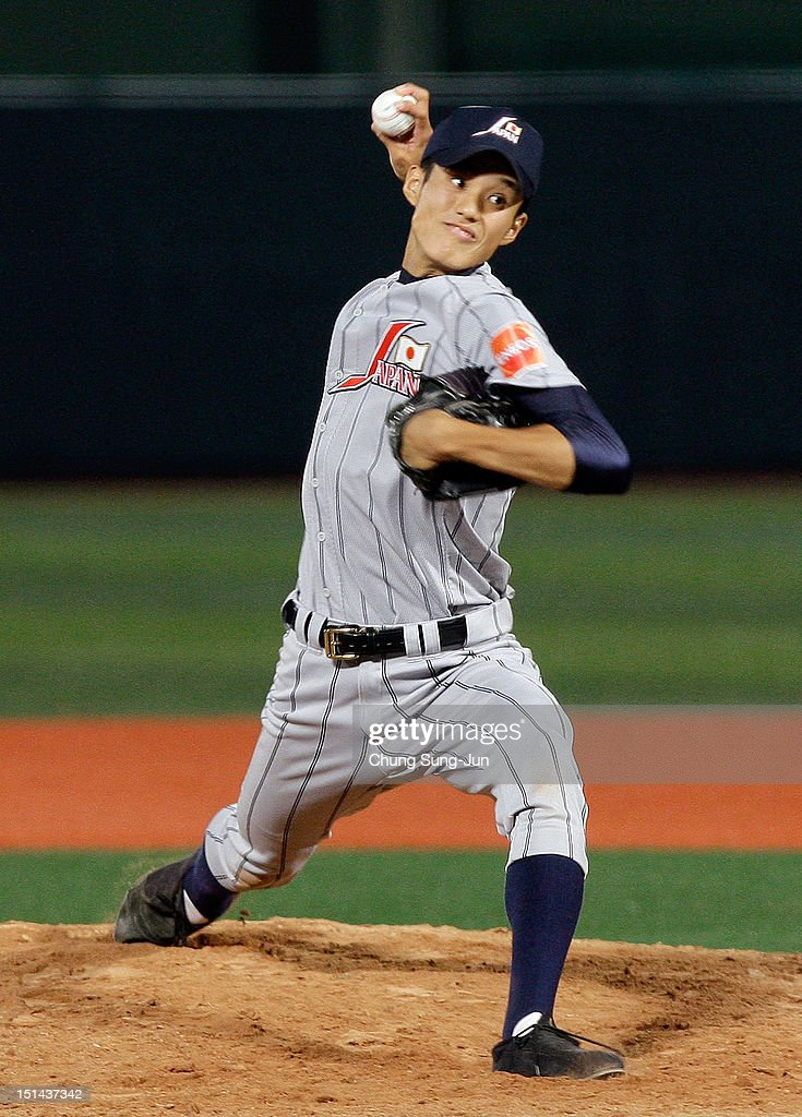 Shintaro Fujinami of Japan pitches during the U18 Baseball World Championship match between Japan and the United States at Mokdong stadium on September 7, 2012 in Seoul, South Korea.